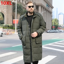 Big size brand Men' large size winter jacket male over the knee thick warm long down