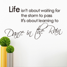 New Design High quality Warm Quote LIFE ISNT ABOUT WAITING FOR THE STORM Home Decal Wall Sticker Removable 3D WallpaperVA8290