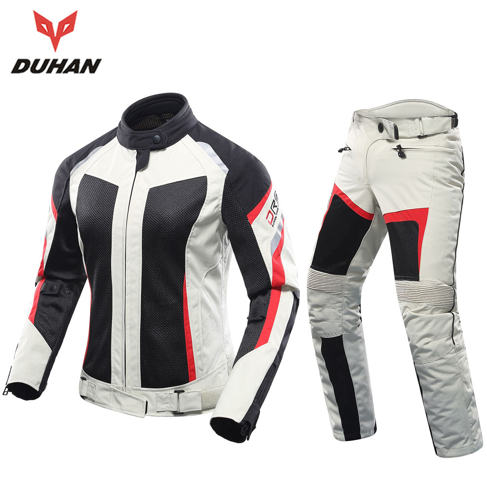 DUHAN Women Motorcycle Jacket + Motorcycle Pants Set Breathable Mesh Motorbike Jacket Moto Pants Armor Riding Suit Clothing  benkia motorcycle rain jacket moto riding two piece raincoat suit motorcycle raincoat rain pants suit riding pantalon moto