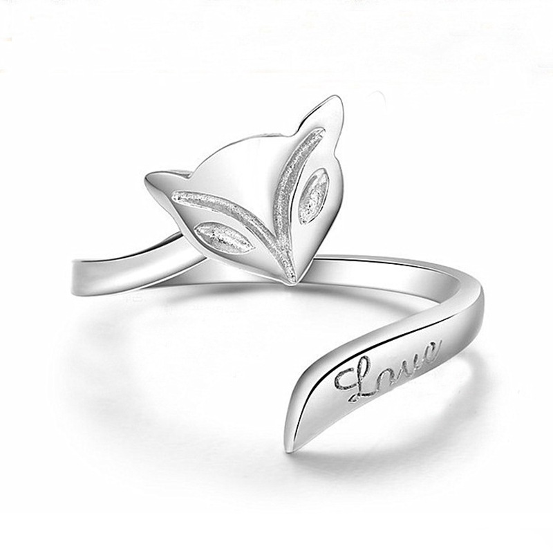 NEW Womens Silver Plated Fox Rings Finger Fashion Girls Lady Ring Opening Adjustable Gift
