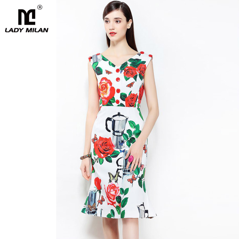 New Arrival 2018 Womens Sexy V Neck Sleeveless Floral Printed Fashion Designer Dresses