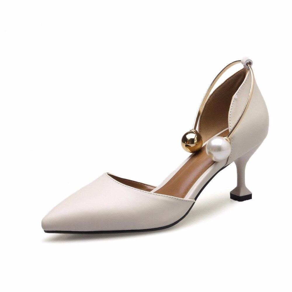 L6 Hauts Profonde Perle Pointu Mariage En 2018 Printemps Pompes Chaussures Beige noir Lenkisen Peu Talons marron Marque Bout Cheville Cuir Femmes Office Bretelles Lady De qp6Xwx14