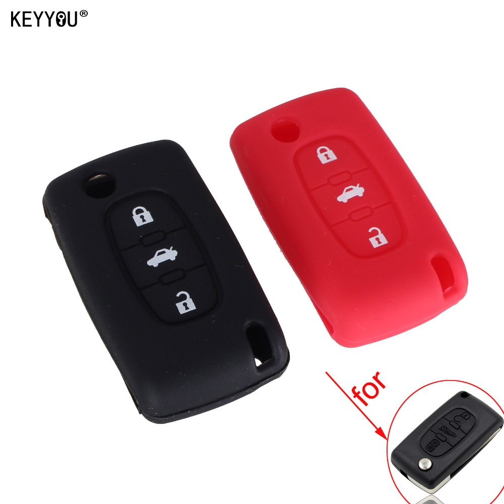 KEYYOU Silicone 3 Button Flip Remote Key Case Shell Key Case Cover for PEUGEOT 208 207 3008 308 408 407 307 206 Car Styling maizhi 3 button flip folding car key shell for hyundai avante i30 ix35 kia k2 k5 sorento sportage key cover case styling