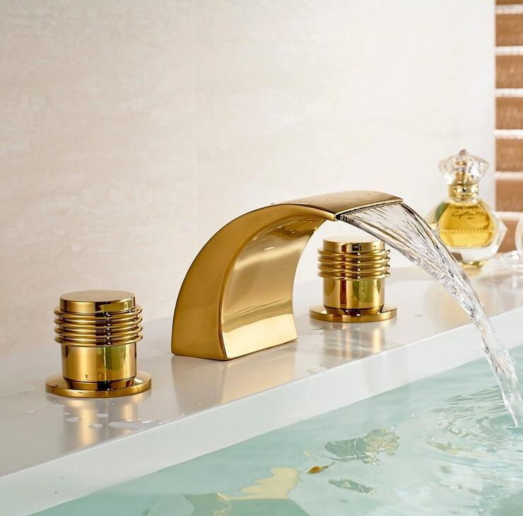 Wash basin faucet waterfall hot and cold, Copper three hole sink basin faucet golden, Brass handle bathroom bathtub faucet deck copper three hole sink basin faucet golden brass handle bathroom bathtub faucet deck wash basin faucet mixer hot and cold