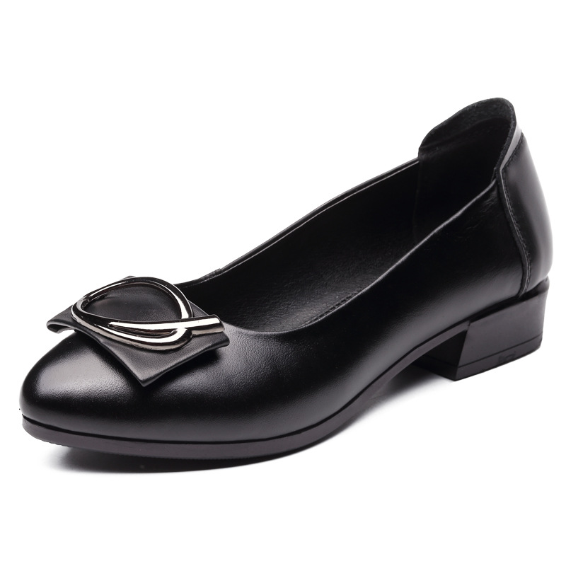 Women black round toe soft leather high heels 3.5cm heels fashion women shoes comfortable shoes