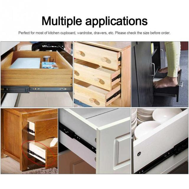 Kitchen Drawer Slides Green Cabinet Doors 2pcs Lot Mini Short Full Extension Guide Rail For Home Cupboard