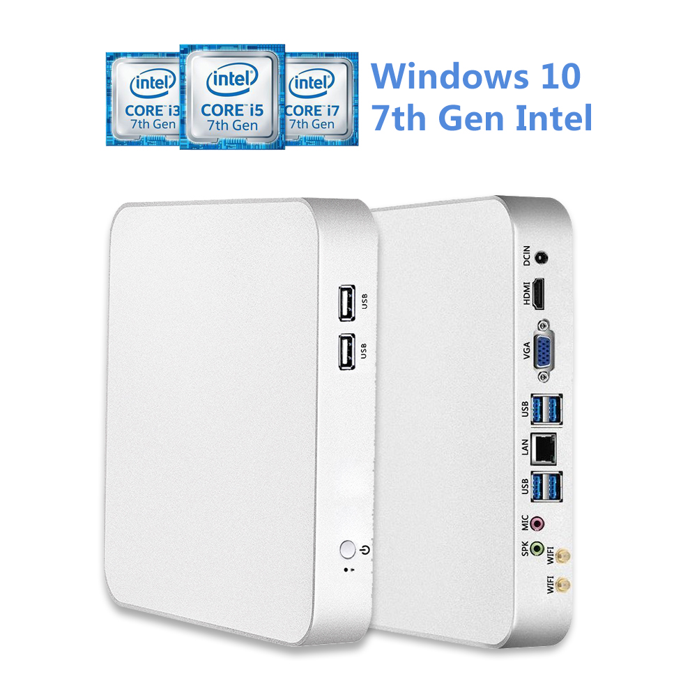 Intel Core CPU Mini PC i5 7200U i7 7500U Mini Ordinateur De Bureau i3 7100U Ventilateur De Refroidissement Windows 10 8 gb ram 4 k Ordinateur