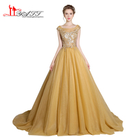 Prom Dress Evening Gown 2017 Thiết Kế New Gold Sang Trọng Hạt Sequins Top Puffy Sexy Xem Qua Tulle Formal Dài Gown