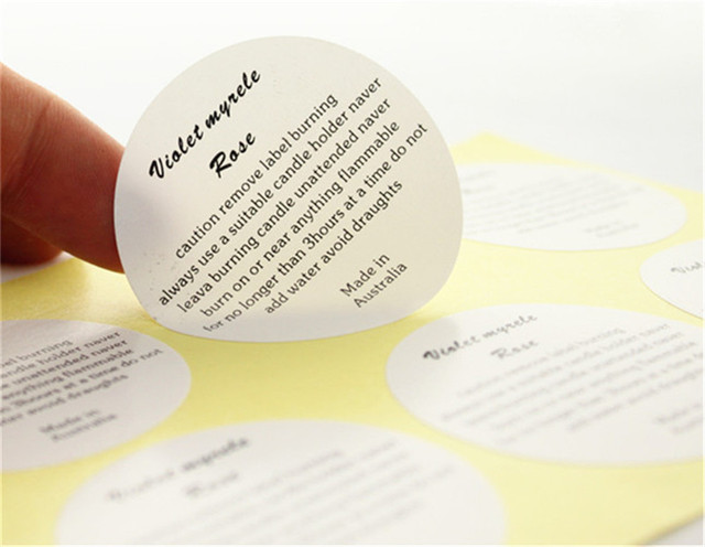 Customized instruction display paper labels printed matt paper sticker printing laminated round white stickers 1000pcs