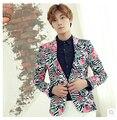 Invierno hombre chaquetas del Retro Floral delgado versión coreana hombres ' s trajes de vestido discotecas casuales chaqueta de traje trajes del cantante de ropa