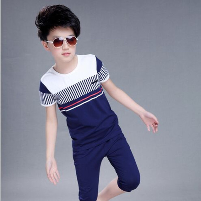 2017 Summer Boys Clothing sets Fashion Striped Kids Clothes Children Clothes O-neck  Short Sleeved+Shorts 2 Piece Hot Selling