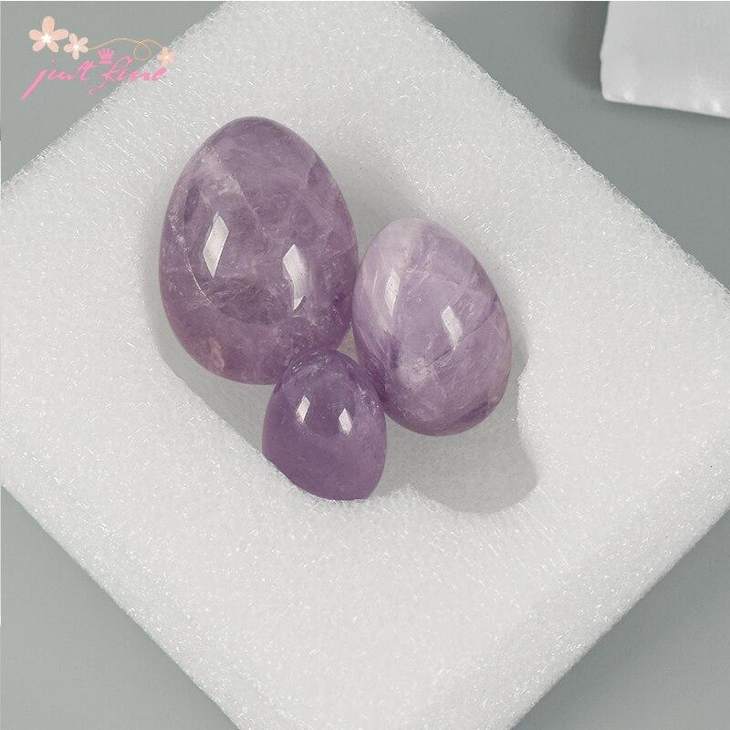 Unrilled Love Egg 3 stk / sett Naturlig Amethyst Crystal Yoni Egg - Helsevesen - Bilde 3