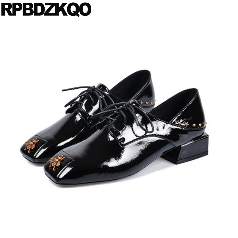 size 4 34 runway patent leather shoes thick women lace up european square toe low heels rivet 2018 bee black oxford suede stud