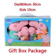 Подлинная Peppa Свинья Большой Размеры подарок посылка Brinquedos 4 шт./компл. свинья Семья Набивные плюшевые игрушки куклы подарок на день рождения