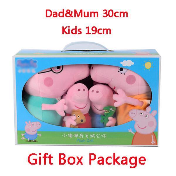 Genuine Brinquedos Peppa Pig Tamanho Grande Pacote de Presente 4 pçs/set Família do Porco Bichos de Pelúcia No Atacado & Brinquedos de Pelúcia de aniversário da boneca presente