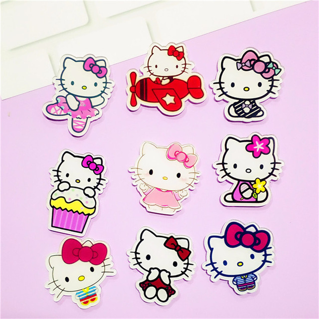 ff5cd0eee 1PCS Cartoon Hello Kitty Cat Icon Acrylic Brooch Badges Decoration Pin  Buttons Backpack Clothes Accessories Free Shipping