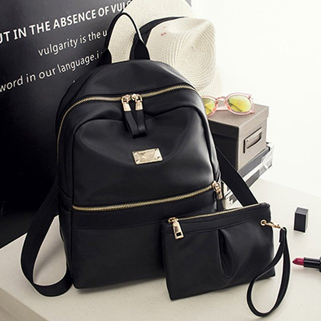 200aa7217fa5 2pcs set Fashion Women Backpack Set Black Backpack With Small Bag PU Leather  School Bag For Ladies Bags For Woman 2018