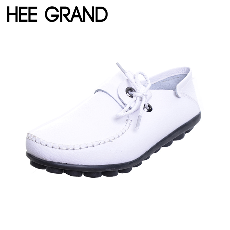 HEE GRAND PU Leather Loafers Spring Slip On Flats Platform Casual Shoes Woman Mother Women Shoes Creepers Size 35-43 XWD4986 hee grand summer gladiator sandals 2017 new platform flip flops flowers flats casual slip on shoes flat woman size 35 41 xwz3651