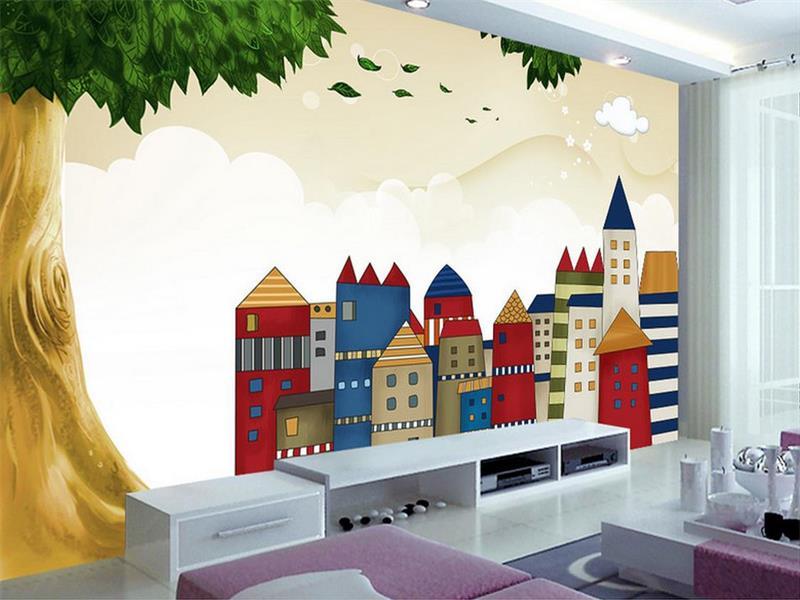 Behang Boom Kinderkamer : Custom 3d foto behang kinderkamer mural groene boom kasteel hd
