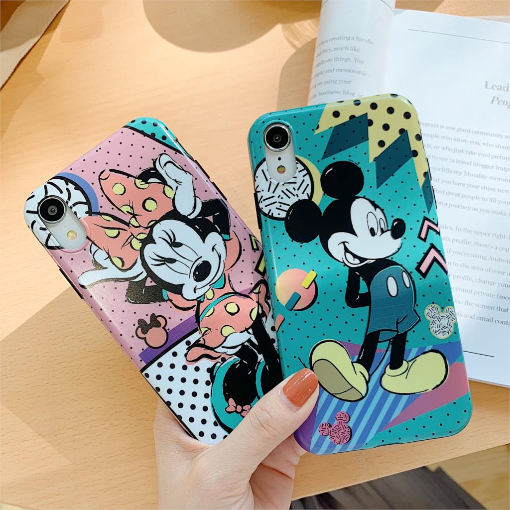 Cute Cartoon Funda For Iphone X Case Love Minnie Mickey Matte IMD Phone Case For Iphone X XR XS Max 6 6S 7 8 Plus Cover Capa