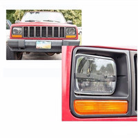 5x7 H4 Square LED Headlights BLACK Lamps Low Beam Clear Projector Lens For Jeep Cherokee XJ