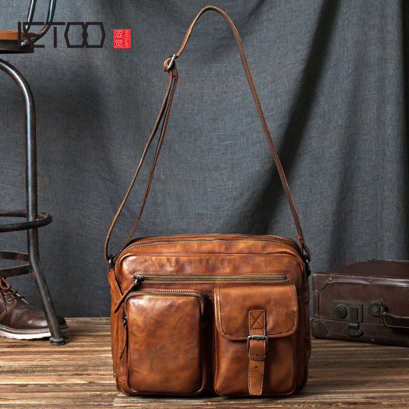AETOO Leather men bag oblique cross package first layer of leather cowhide shoulder wrapped tanned leather bag men s leather oblique cross chest packs of the first layer of leather deer pattern men s shoulder bag korean fashion men s bag