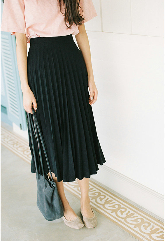 A-Line Pink Gray Black Pleated Skirt 7