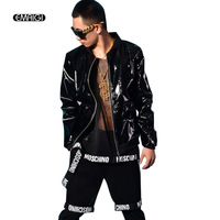 Men Black Patent Leather Jacket Coat custom made Stage Rock Hip hop Costumes Nightclub Bar DJ Singer Clothing