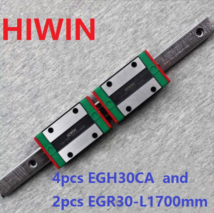 2pcs 100% original HIWIN linear guide rail EGR30 -L 1700mm + 4pcs EGH30CA linear block CNC router 2pcs 100% original hiwin linear guide rail egr30 l 1800mm 4pcs egh30ca linear block cnc router