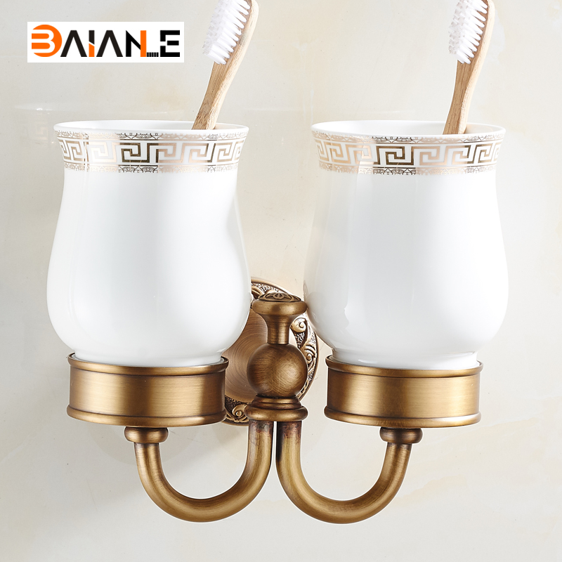 Cup & Tumbler Holders Wall Mounted Bathroom Antique Double Toothbrush Holder Bathroom Accessory Sanitary Ware image