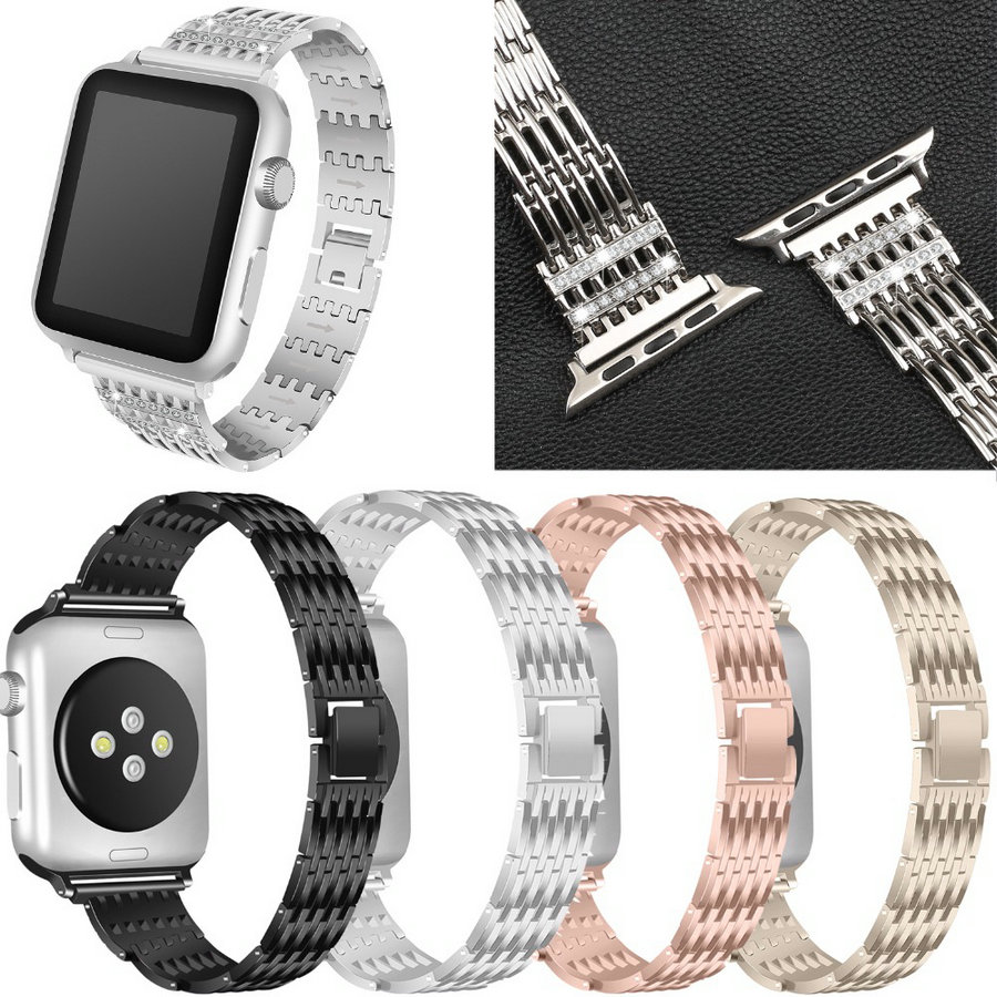 JOYOZY Bling Bands for Apple Watch Band 38mm 42mm Stainless Steel Metal Replacement Wristband Sport Strap for Apple Watch Nike+ apple watch band 38mm 42mm secbolt metal replacement wristband sport strap for apple watch nike series 3 series 2 series 1