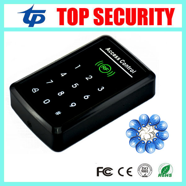 Touch keypad 1000 user door access control system with weigand input 125KHZ RFID card access control reader + 10pcs RFID key metal rfid em card reader ip68 waterproof metal standalone door lock access control system with keypad 2000 card users capacity