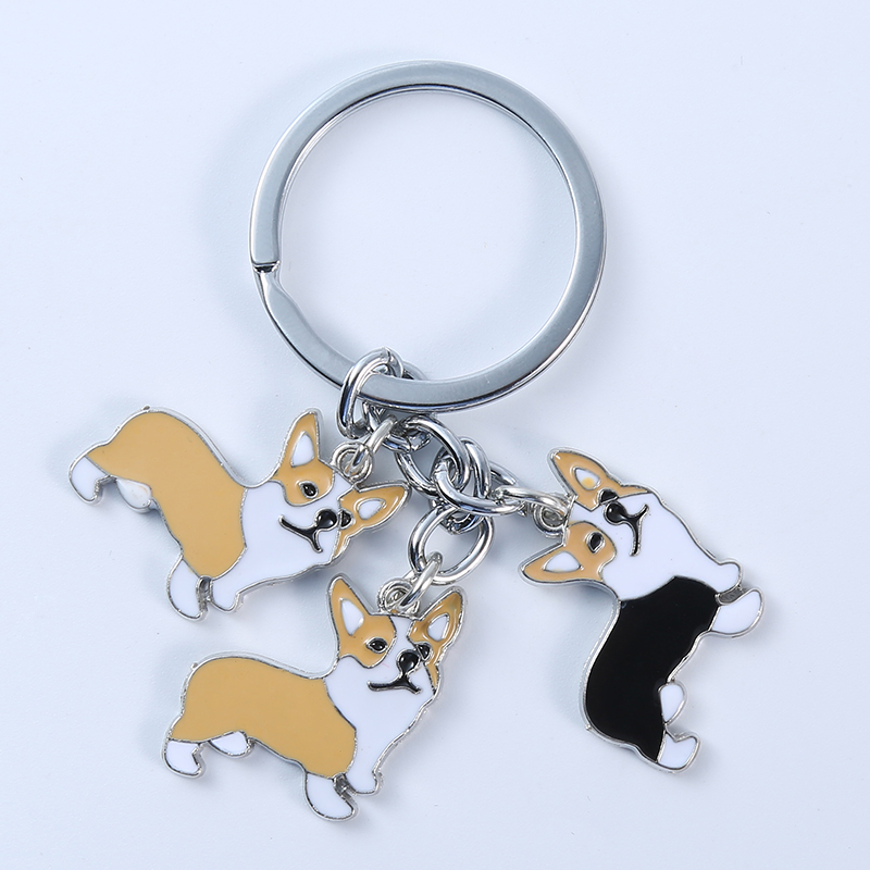 Welsh Corgi Pembroke Keychain Key Rings For Women Men Girls Alloy Metal Pet Dog Car Key Chain Bag Charm Keyring gifts