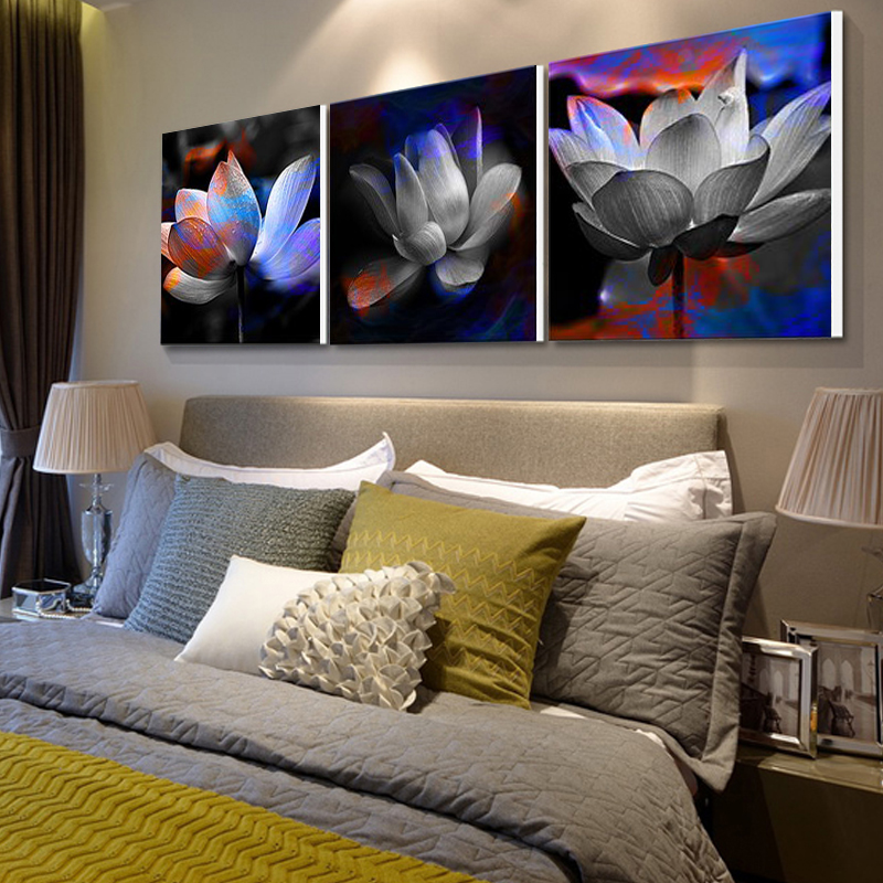no frame 3 panels modern pictures lotus canvas paintings