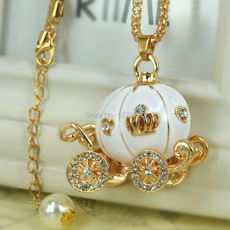 White Pumpkin Sweater Necklace Jewelry Crystal For Women Long Necklace Pendants Rhinestone Chain Christma Valentines Gift