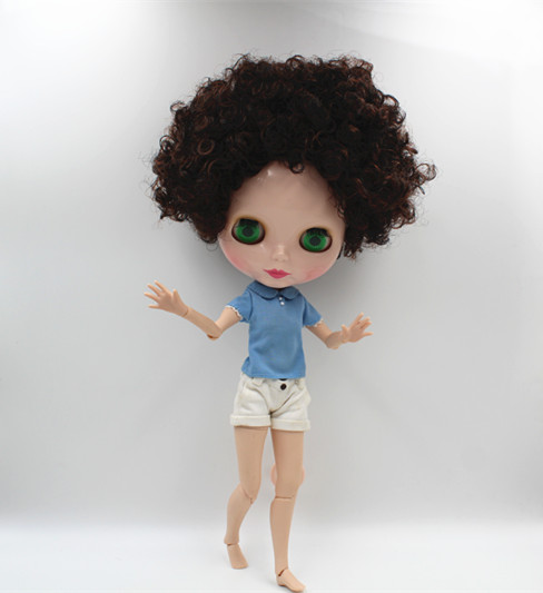Blygirl Blyth doll Dark brown explosion short hair nude doll 30cm joint body 19 joint DIY doll can change makeup toys gift