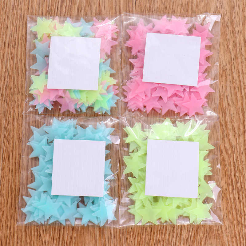 100Pcs/pack Fluorescent Stars Luminous Toys For Children's Bedroom Storage Rooms Baby Kids Glow Pentagram Adhesive Stickers