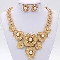 Уникальный дизайн позолоченный сплав подражать жемчужные серьги и ожерелье устанавливает моды, свадебные ювелирные наборы