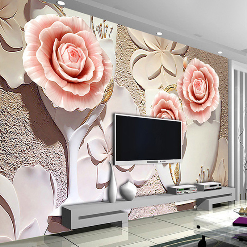 3D Wallpaper Stereo Embossed Flowers Photo Mural Bedroom Living Room TV Sofa Backdrop Wall Home Decor 3D Wall Papers Papel Mural