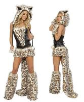 Sexy Leopard Halloween Cosplay Costumes For Role Playing Short Carnival Costume Woman Adult Animals Hooded Dress