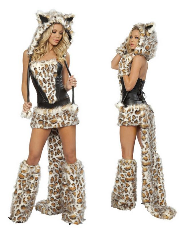 <font><b>Sexy</b></font> Leopard <font><b>Halloween</b></font> Cosplay <font><b>Costumes</b></font>-for-role-playing Short Carnival <font><b>Costume</b></font> Woman Adult Animals Hooded Dress With Tail WL77 image