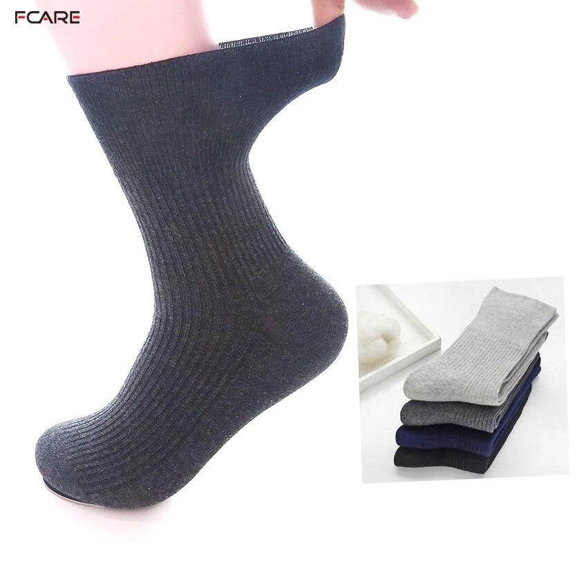 Fcare 10PCS=5 Pairs Plus Size Hypertension Socks Prevent Varicose Veins Socks 44-48EU Diabetic Autumn Winter Combed Cotton Socks