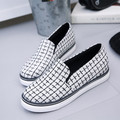 HOT 2017 spring Gingham flat with women shoes fashion 3 colors slip on round toe loafers vintage style flats shoes woman