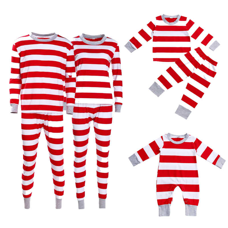 Detail Feedback Questions about New Christmas Family Matching Pajamas  Clothes Set Red White Wide Striped Long Sleeves Tops Pants Baby Kids Dad  Mom Sleepwear ... 30671dce8