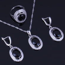 Exclusive Oval Black Cubic Zirconia White CZ 925 Sterling Silver Jewelry Sets For Women Earrings Pendant Chain Ring V0985 цена