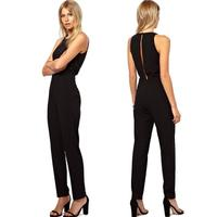 Sexy Women Elegant Bodysuit Fitness Slim Casual Jumpersuit Tracksuit Sleeveless Split Back Female Casual Playsuit Plus Size Z30