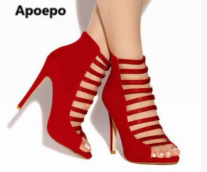 Apoepo bling women sandals 2017 red wedding shoes sexy peep toe women shoes high heels ankle boots summer pumps sandals mujer apoepo brand 2017 zapatos mujer black and red shoes women peep toe pumps sexy high heels shoes women s platform pumps size 43