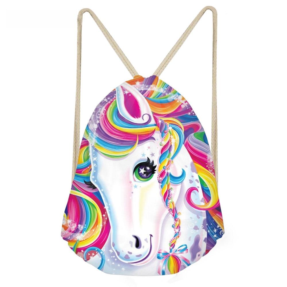 ThiKin Funny Cartoon Rainbow horse Colorful Horse Print Women Drawstring Bags Fashion Beach Bags Teenagers Girls