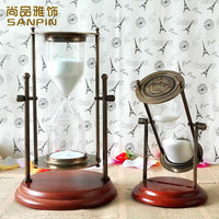 American creative retro hourglass time 30 minutes time bronze ornaments birthday gift wood office study