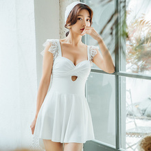 Vintage Korean White Lace One Piece Swimsuit Skirt 2019 Sexy Swimwear Women Swimdress Monokini Bathing Suit